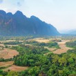 Panorama of the beautiful landscape. Vang Vieng. Laos. - Stock Photo