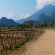 Stock Photo: On a rural road. Vang Vieng. Laos.