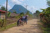 On a rural road. Vang Vieng. Laos. — Stock Photo