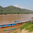 Stock Photo: Boats on Mekong river. Luang Prabang. Laos.
