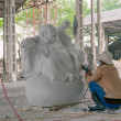 Man Creating Marble Buddha Sculpture. Vietnam — Stock Photo