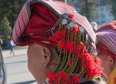 Hat of woman from the Red Dao ethnic group. Sapa — Stock Photo