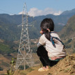 unidentified black hmong tribe girls siting on mountain. sapa. v — Stock Photo