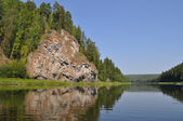 Yellow rock on the Chusovaya River — Stock Photo