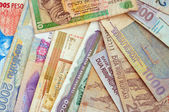 Background of different currencies — Stock Photo