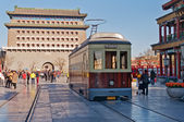 Old tram in Qianmenl street in Beijing. China — Stock Photo