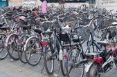 Many bicycles in a parking in Beijing — Stock Photo