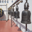 Old bells and gong on the Golden mountain temple in Bangkok — Stock Photo