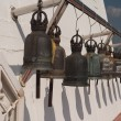 Old bells on the Golden mountain temple in Bangkok — Stock Photo