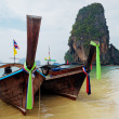 Traditional longtail boats on the Railay beach — Stock Photo #41833711