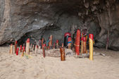 Wooden phalluses in Princess cave. Railay. Thailand — Stock Photo