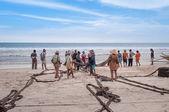 Fishermen on Tiku beach — Stock Photo