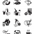 Grocery store and confectionery icons set — Stock Vector