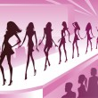Fashion models show new clothes at a review — Stock Vector #14687041
