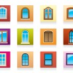 Plastic aluminum and wooden windows — Stock Vector #14687079