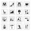 Hypermarket and mall icons set — Stockvektor