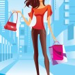 Stock Vector: Fashion girl is walking on a street