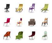 Luxe, interieur, office en plastic stoelen — Stockvector