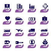 Ensemble d'icônes d'assurance — Vecteur