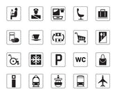 Airport, bus station and railway station icons set — Stock Vector
