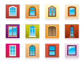 Plastic aluminum and wooden windows — Stock Vector