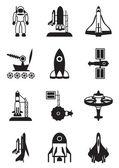 Astronot, uzay ve uzay gemisi — Stok Vektör