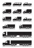 Vrachtwagens en bestelwagens — Stockvector