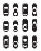 Different cars seen from above — Stock Vector