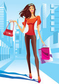 Fashion girl is walking on a street — Stock Vector