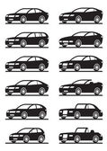 Different modern cars in angle — Stock Vector
