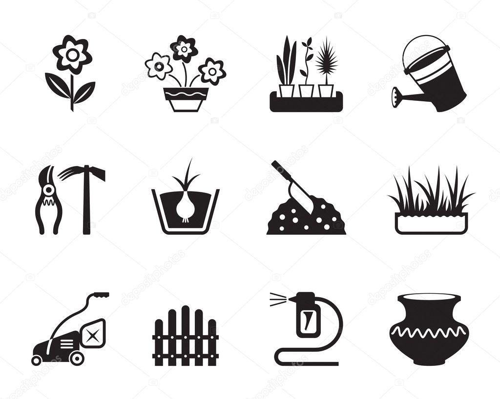 Flower and garden icons set — Stock Vector © angelha #14687429