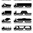 Stock Vector: Different types of trucks