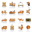 Logistic icons set — Stockvectorbeeld