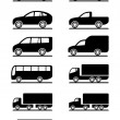 Road transportation icons set - Stok Vektör