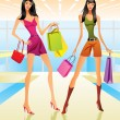 Stock Vector: Shopping girls in the mall