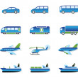 Road, air, rail and water transport — Stock Vector