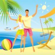 Romantic couple enjoy their vacation on the beach — Stock Vector #14759547