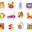 Stock Vector: Various children's toys