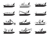 Diverse commercial and passenger ships — Stock Vector