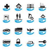 Ensemble de diverses icônes d'assurance — Vecteur
