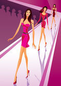 Fashion models show a new clothes at a fashion review — Stock Vector