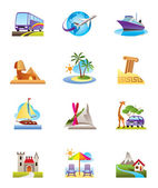 Travel, holidays and vacation icons set — Stock Vector