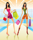 Shopping girls in the mall — Stock Vector