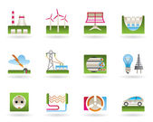 Power plants, electricity grids and electricity consumers — Stock Vector