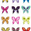 Stock Vector: Butterfly with shadow in twelve variations