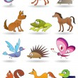 Toys with animals for kids icons set — Stock Vector #15473043