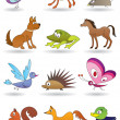 Toys with animals for kids icons set — Stock Vector