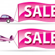 Stock Vector: Sale flyer coming by car and airplane