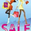 Stock Vector: Fashion girls in sale campaign