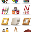 Painting materials and tools for artists icons set — Stock Vector
